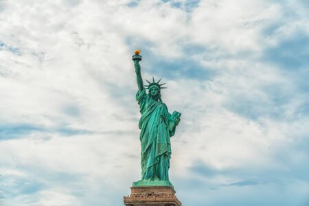 Statue Of Liberty, New York City Against Cloudy Blue Sky Background. Copy Space, Patriotism, Happy Forth of July, Independence Day, Travel  Contest