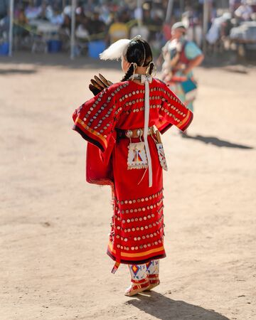 Live Oak Campground, Santa Barbara, CA/USA - October 5, 2019 2019 Powwow, woman dance. Native American Woman in Full Regalia. Santa Ynez Chumash Inter-Tribal Pow Wow. Woman performing.