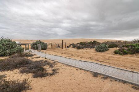 Boardwalk through sand dunes. Oceano, California Zdjęcie Seryjne
