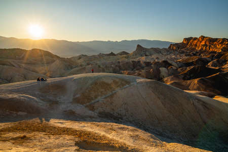 Death Valley, California/USA - October 30, 2019  Zabriskie Point, Death Valley National Park, California. One of the best spots in Death Valley to see a sunset