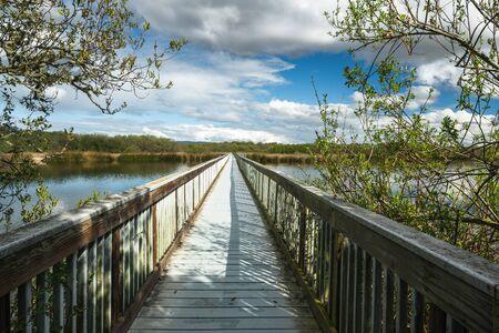 Wooden boardwalk through the lake. Oso Flaco Lake trail in Oceano Dunes State Vehicular Recreation Area, California