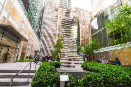 """New York City/USA -May 24, 2019 """"The Guardian: Hero"""" sculpture by Italian architect Antonio Pio Saracino located at the Three Bryan Park between 41st and 42nd Street in New York City"""