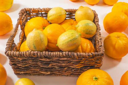 Fresh ripe organic oranges and lemons close up in  basket on white background
