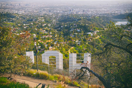 Los Angeles, California/USA - April 8, 2018 Famous touristic attraction an iconic Hollywood Sign overlooking Los Angeles