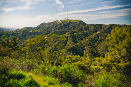Los Angeles, California/USA - April 8, 2018 Griffith Park hiking trail. The area is famous for its Hollywood sign, Griffith Observatory, and spectacular views of downtown Los Angeles