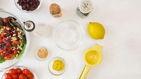 Honey mustard salad dressing recipe. Ingredients close up on kitchen table Zdjęcie Seryjne