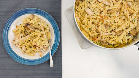 Pasta with mushrooms, chicken meat and Alfredo sauce recipe