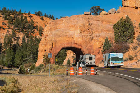 Utah/USA - October 14, 2020  Driving throug the tunnel. The Red Canyon tunnel, a magical entrance to Red and Bryce canyons, Utah National Parks