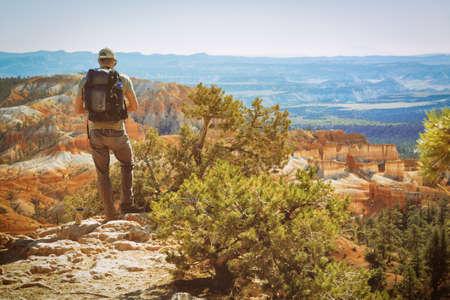Bryce Canyon National Park, Utah. Young man admires beautiful view