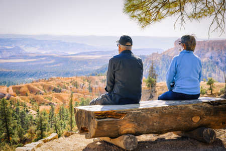 Bryce Canyon National Park, Utah. Mature age couple enjoys scenic view