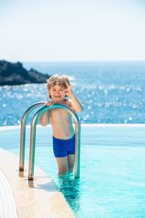 Ocean water background. Tropical guy. Luxury swimming pool. Relaxed on Bahamas or Bermuda. Traveling concept. Stock fotó