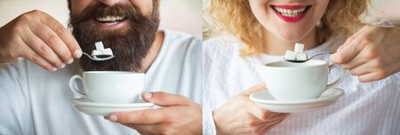 Tea. Sugar. A young couple is drinking coffee or tea with sugar. Man and woman. Smile. Collage. Set of photos of a girl and a guy. Smile with white teeth. Tasty morning. Gender. Calories. Stock fotó