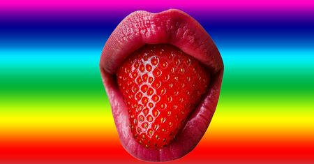 Homosexual concept. Lips with strawberries. Female mouth on rainbow flag background. Pride. Tongue. Berry. Erotic food. Sexy lips taste. Stock fotó