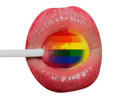 Homosexual lollipop lips. Sweet candy with flag of sexual minorities, sexy LGBT concept, sex with woman, seductive female lips, blowjob or oral sex, female tongue for clitoris. Pink lipstick lollipop.