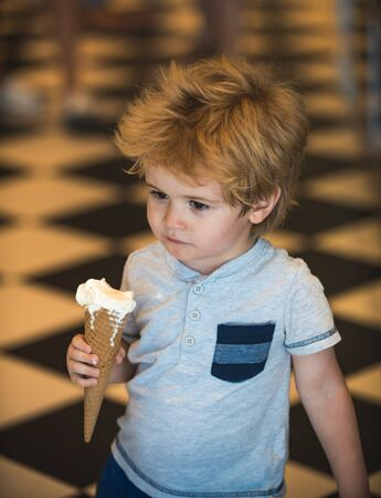 Ice cream melted. Upset child. Spoiled holidays. Unhappy weekend. Unlucky day. Sad boy.