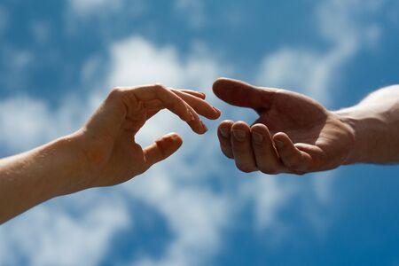 Relations. Male and female hand. Support, a shared future. Love feelings. Stock fotó