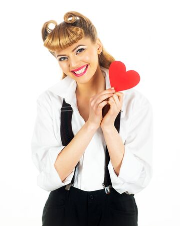 Woman with a red heart. Beautiful girl and a symbol of love. Valentines Day.