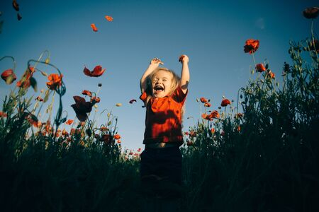Happiness. Cheerful boy in the field with poppies. Happy walk in nature with a child. Stock fotó - 138473444