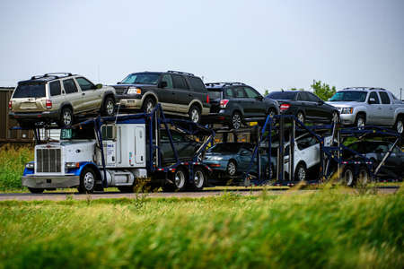 Arizona, USA - May, 2020: Transportation of cars. Dealer. Freight truck. Transport delivery. Transport business. Stock Photo