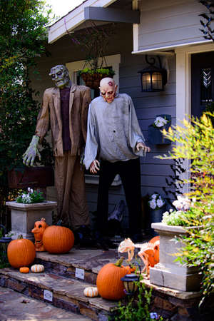 Zombie monsters. Pumpkin and Halloween scenery. Terrible holiday at home. Halloween in the USA. Traditions and house decor. Terrible creatures.