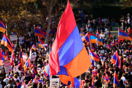 Flag of Armenia. Protest and struggle. People of Armenia against the bombing of Artsakh.