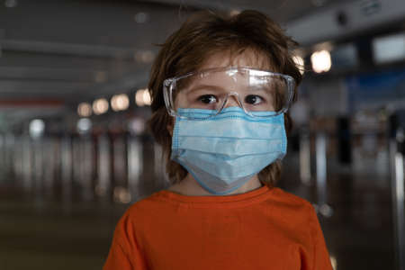 Coronavirus protection. Child face in a mask.