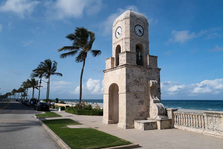 Palm Beach, FL, USA - MAY, 2020: Clock tower on Worth Ave in Palm Beach.