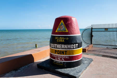 Southernmost Point Continental USA at Key West, Florida. The famous landmark of the southernmost point of the USA.