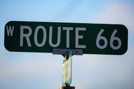 Route 66 historic sign.The streets of the United States. 免版税图像