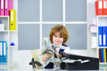 Money concept. Financial education for kids. US dollars.
