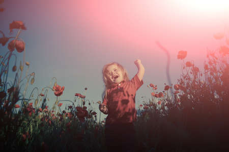 Happy walk in nature with a child. Happiness. Cheerful boy in the field with poppies.