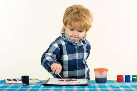 Children education. Art school at home. Smart kid.