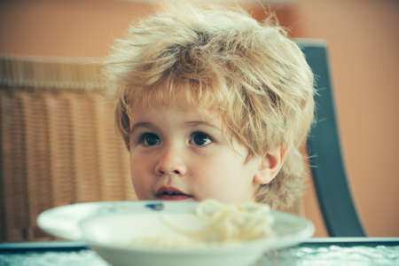 Cute kids face. Food for children concept.