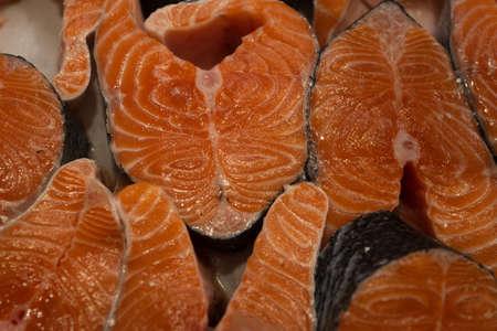 Salmon steak close-up. Omega sea food.