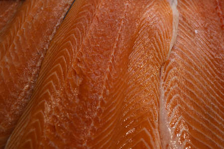 Red salmon fillet close up. Sea food. Fish.