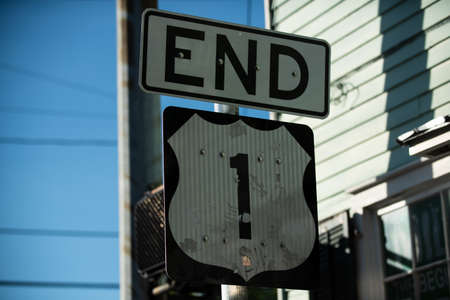 Key West, the end of highway One, road sign in America.