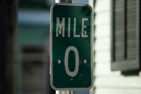 Mile 0 sign in Key West, Florida. USA. Kilometre zero sign in America.