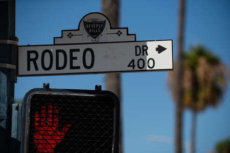 Rodeo Drive street sign in Beverly Hills, California, in the City of Los Angeles, USA. 免版税图像
