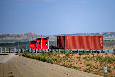 Arizona, USA - 2020: Roads in the United States, delivery of goods. Transport business.