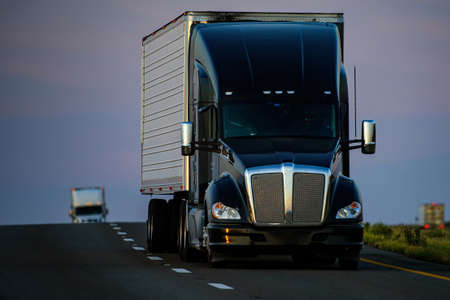 Arizona, USA - 2020: American trucks. Roads in the United States, delivery of goods. Transport business.