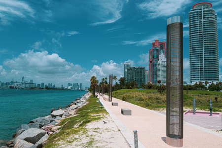 South Pointe Park in Miami. Ocean Walkway. Beautiful city in Florida USA.