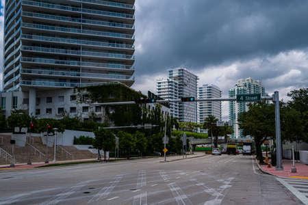 Miami Beach, Florida, USA - 2020: Miami Beach 4 street. Sunny day in Florida, US. South Beach outdoor. 免版税图像