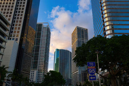 Miami, FL, USA - 2020: Cityscape. Miami Downtown, wonderful aerial view of buildings and skyscrapers. One of the most famous streets on east coast of USA.