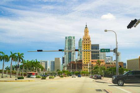 Miami, FL, USA - 2020: The Freedom Tower. American Latino Heritage. Florida old style historic skyscraper in downtown. 免版税图像