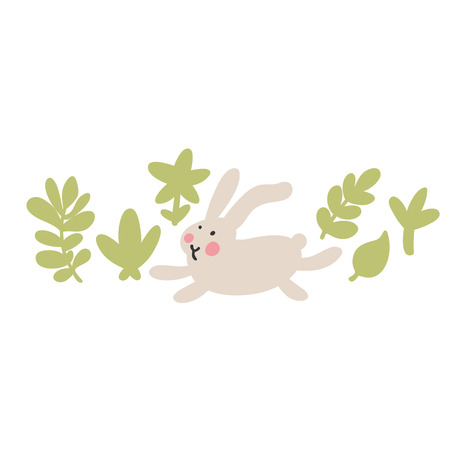 Adventures of Easter bunnies, who are looking for and hiding holiday eggs. Easter design elements in minimalistic vector style. Illustrations for kids. Иллюстрация