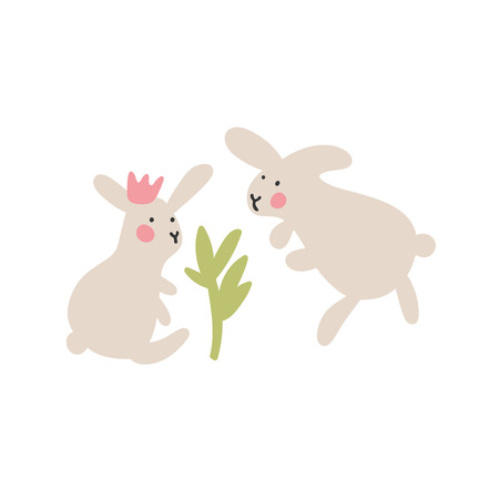 Adventures of Easter bunnies. Two Easter bunnies protect the plant. First date. The idea for postcards, holiday decorations. Easter design elements in minimalistic vector style. Illustrations for kids