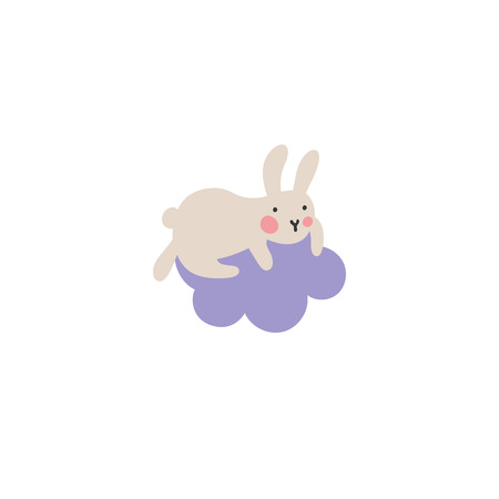Adventures of Easter bunniesCute little hare climbed onto a purple cloud and doesnt know how to get out of there. Who will help the kid find his way down