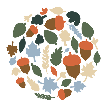 Round fall floral frame with stylized meadow flowers. Abstract circle with Autumn Leaves. Isolated vector illustration