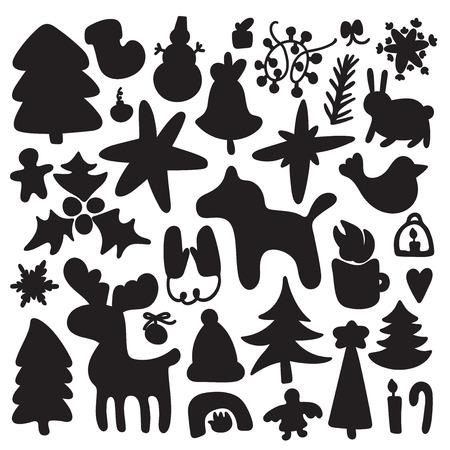 Merry Christmas and Happy New Year doodle hand-drawn big illustration set. Scrap vector design Foto de archivo - 124539809