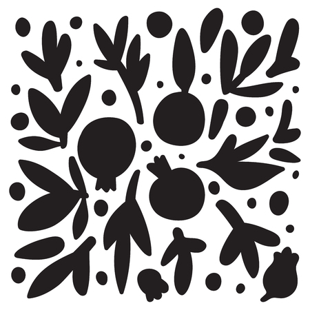 Collection of hand drawn branches and berries on white background, vector illustration Illustration